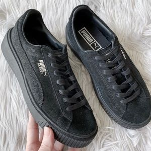 Puma Basket Black Glitter Finish Platform Sneakers